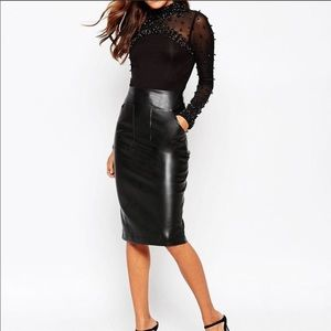 ASOS leather black pencil skirt.
